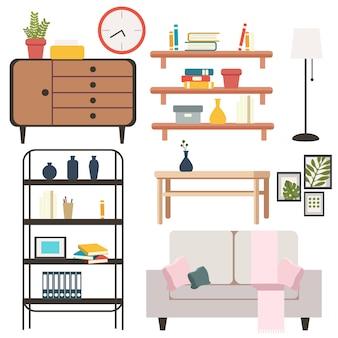 Conjunto de objetos y muebles en el salón.