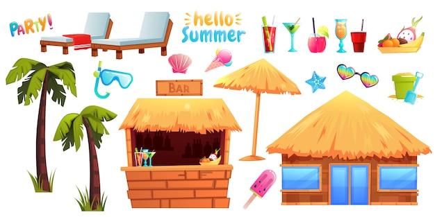El conjunto de objetos y muebles de verano.