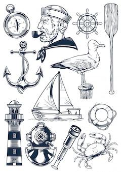 Conjunto de objetos náuticos en estilo vintage grabado.