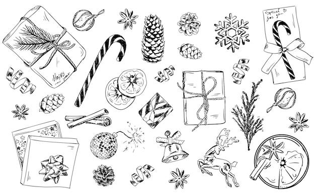 Conjunto de objetos navideños