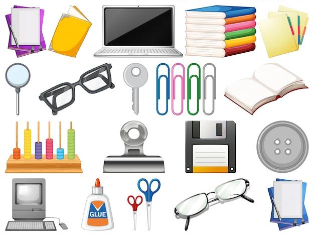 Conjunto de objetos de oficina
