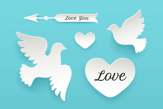 Conjunto de objetos de papel, corazón, paloma, pájaro, flecha