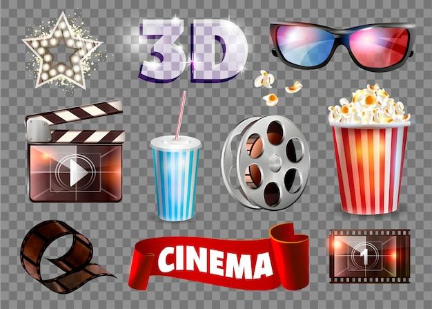 Conjunto de objetos de película.