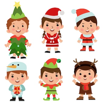 Conjunto de objetos de personaje de dibujos animados para niños disfraz de navidad