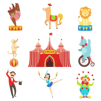 Conjunto de objetos y personajes de rendimiento de circo