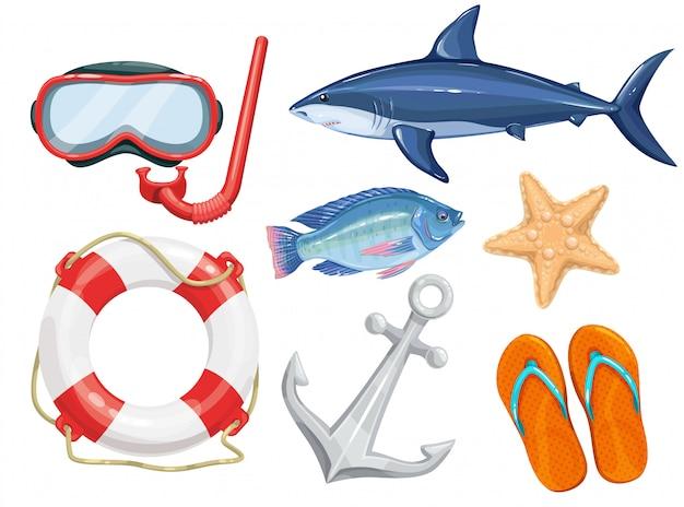 Conjunto de objetos de playa marina.