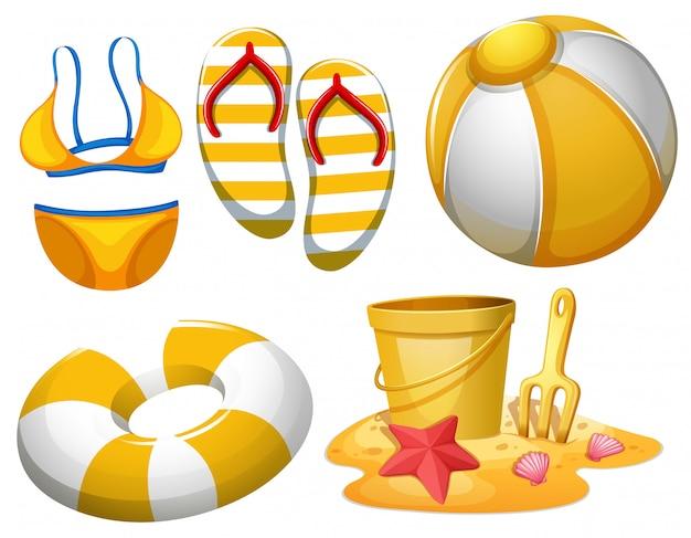 Conjunto de objetos de playa