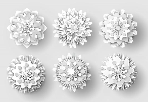 Conjunto de objetos recortados de papel blanco de flores de origami