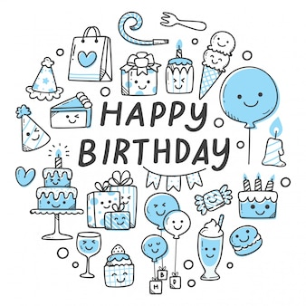Conjunto de objetos relacionados con cumpleaños en estilo kawaii doodle