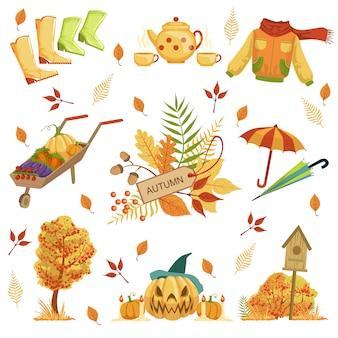 Conjunto de objetos relacionados de otoño