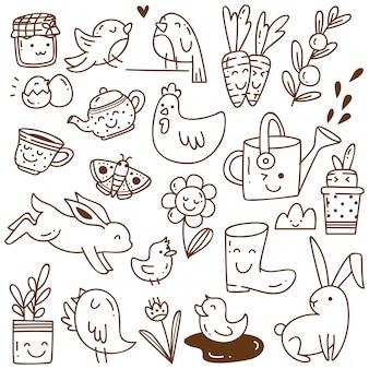 Conjunto de objetos relacionados con la primavera en el estilo de dibujo de kawaii
