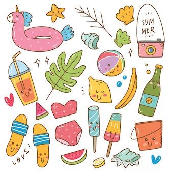 Conjunto de objetos relacionados con el verano en estilo kawaii doodle