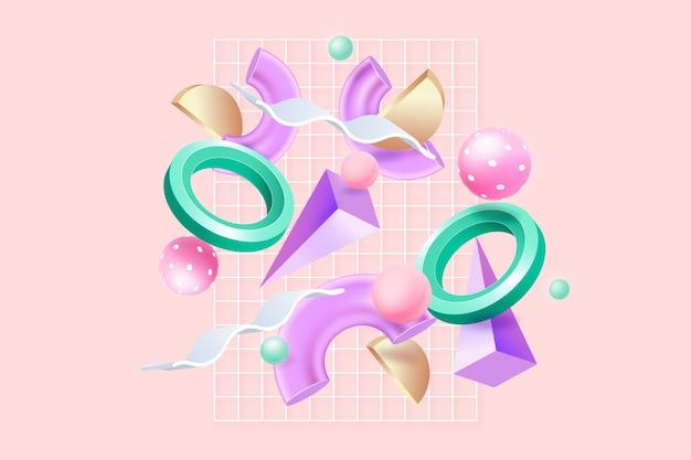 Conjunto de objetos renderizados 3d abstracto