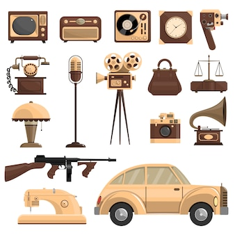Conjunto de objetos retro