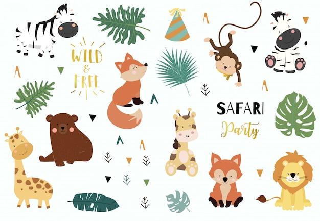 Conjunto de objetos de safari