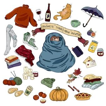 Conjunto de objetos y símbolos de otoño