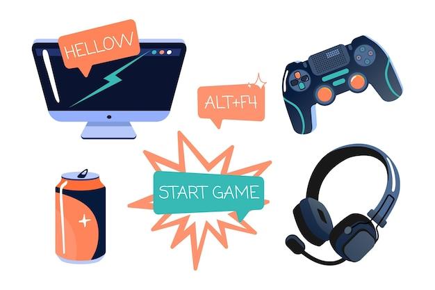 Conjunto de objetos de streamer de juego plano