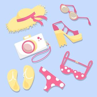 Conjunto con objetos de verano sombrero, gafas, zapatos, cámara, traje de neopreno, chanclas, ilustración vectorial