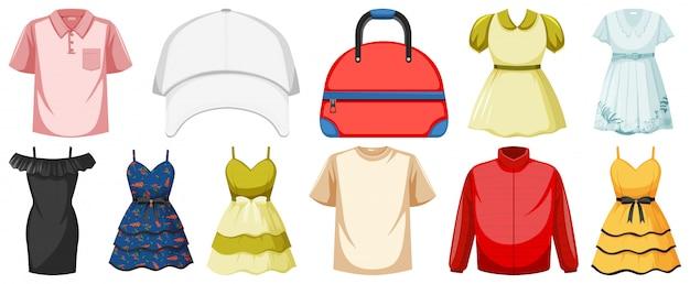 Conjunto de objetos de vestuario
