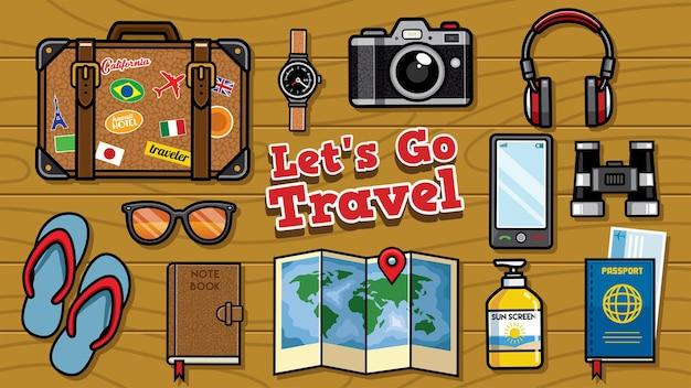 Conjunto de objetos de viaje planos laicos