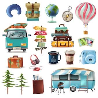 Conjunto de objetos de viaje