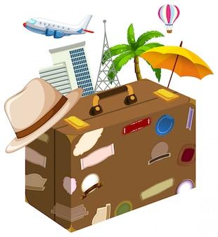 Conjunto de objetos de viaje.