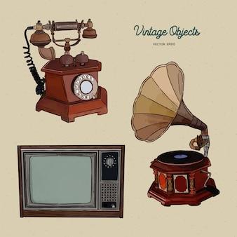 Conjunto de objetos vintage, boceto dibujar a mano.