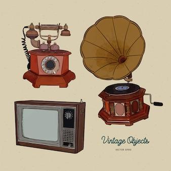 Conjunto de objetos vintage, vector de boceto de sorteo de mano.