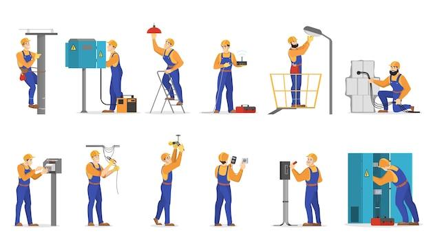 Conjunto de obras de electricidad. trabajador profesional en uniforme