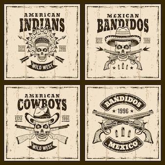 Conjunto occidental de emblemas sobre fondo con texturas.