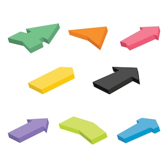 Conjunto de ocho flechas isométricas de colores. ilustración vectorial