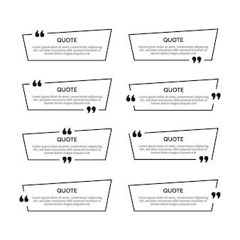 Conjunto de ocho marcos de cuadro de cotización negros aislados sobre fondo blanco. ilustración vectorial
