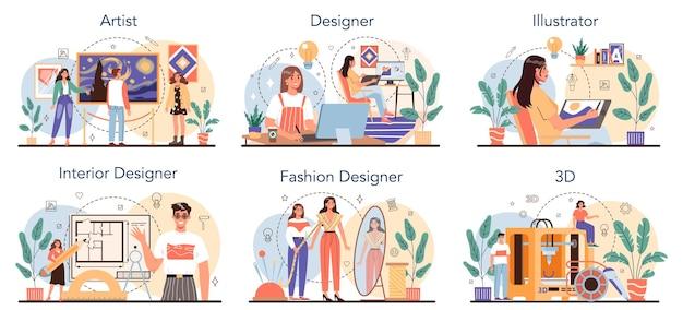 Conjunto de ocupación artística. diseñador, bailarín, artista, músico, florista