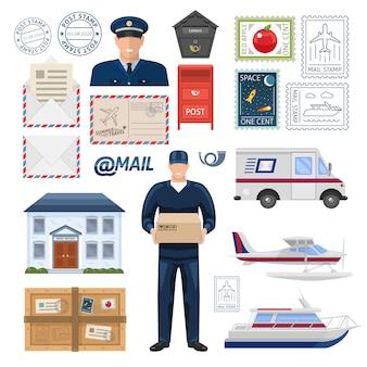 Conjunto de la oficina de correos con empleados construyendo impresión y sellos postales paquete de transporte y letras ilustración vectorial aislado