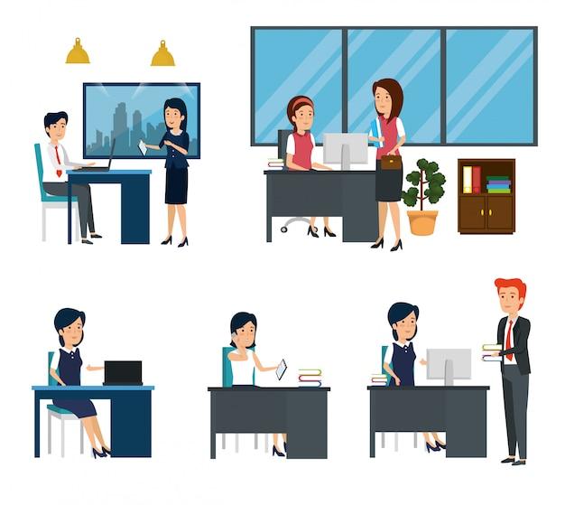 Conjunto de oficina de mujeres empresarias y empresarios