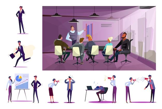 Conjunto de oficinistas en el lugar de trabajo