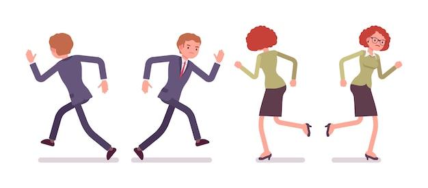 Conjunto de oficinistas masculinos y femeninos corriendo, trasero, delantero