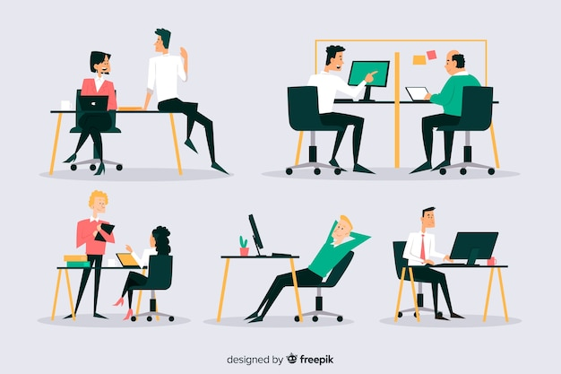 Conjunto de oficinistas sentados en escritorios