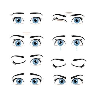 Conjunto de ojos y cejas masculinas de colores con diferentes expresiones.