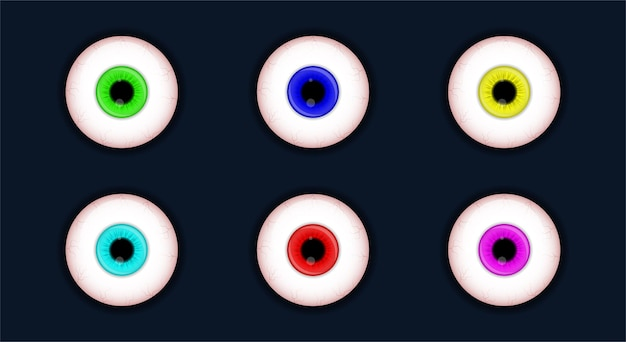 Conjunto de ojos espeluznantes colección de globos oculares de miedo de halloween aislado sobre fondo blanco.