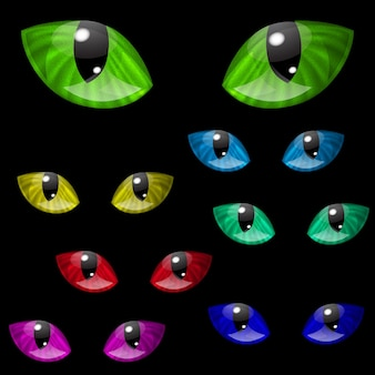 Conjunto de ojos de gato en varios colores.