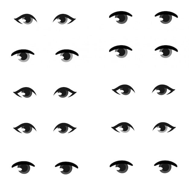 Conjunto de ojos humanos.