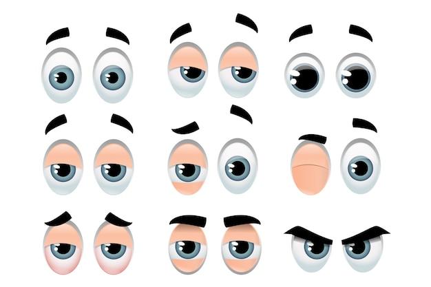 Conjunto de ojos que representan expresiones variadas.