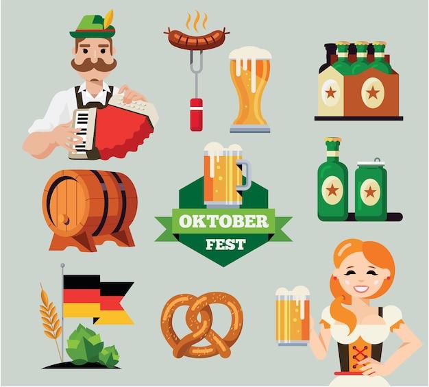 Conjunto de oktoberfest alemán.