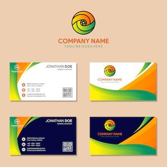 Conjunto de ola abstracta profesional y tarjeta de visita.