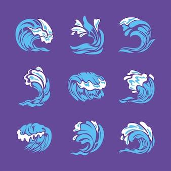 Conjunto de olas o salpicaduras de agua