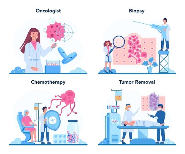Conjunto de oncólogo profesional. diagnóstico y tratamiento de enfermedades cancerosas.