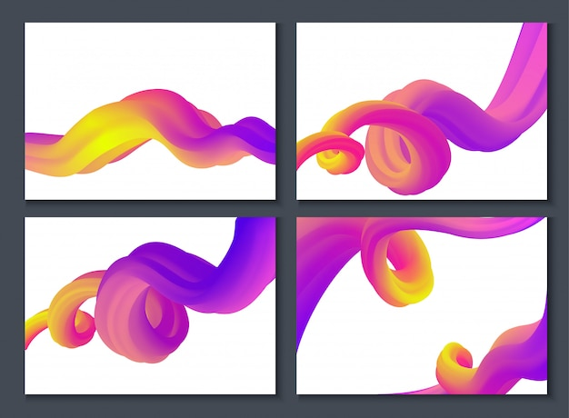 Conjunto de ondas 3d o fondo de colores con marcos