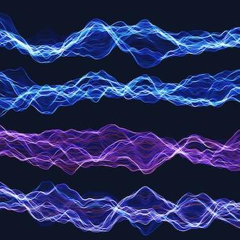 Conjunto de ondas caóticas de energía.