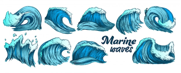 Conjunto de ondas marinas splash color sketch